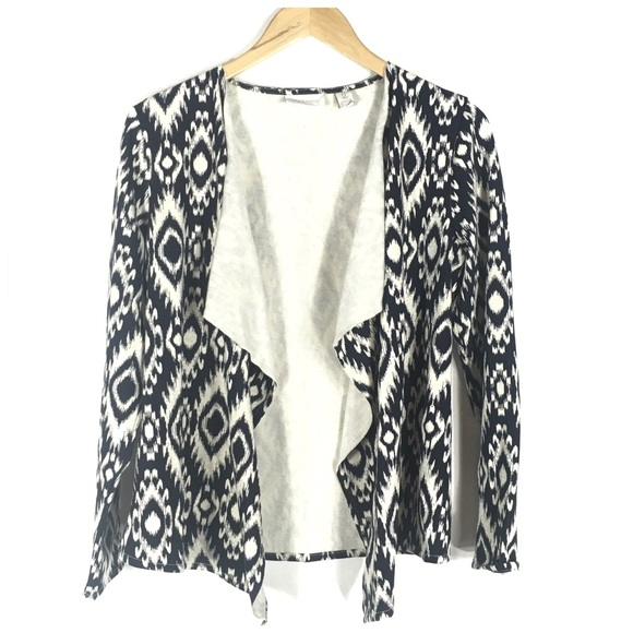 Chico's Sweaters - Chico's Ikat Navy Blue Open Front Cardigan